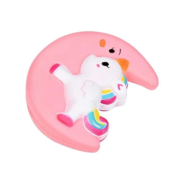 Fun Toys Squishies, Kawaii Moon Unicorn Squishy, Creamy Aroma Slow Rising Squeeze Toys for Boys and Girls Gift (Color : Yellow) 4