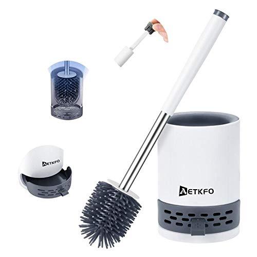 AETKFO Silikon toilettenbürste,klobürsten Halter Bad-Toilettenbürstenset wc bürste mit weicher Borstenbürste mit Wandmontage