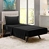 """Nestl Bedding Damask Dobby Stripe 3 Piece Set – 14""""-16"""" Deep Pocket Fitted Sheet – Ultra Soft Double Brushed Microfiber Top Sheet – 1 Hypoallergenic Wrinkle Free Cooling Pillow Case, Twin - Black"""