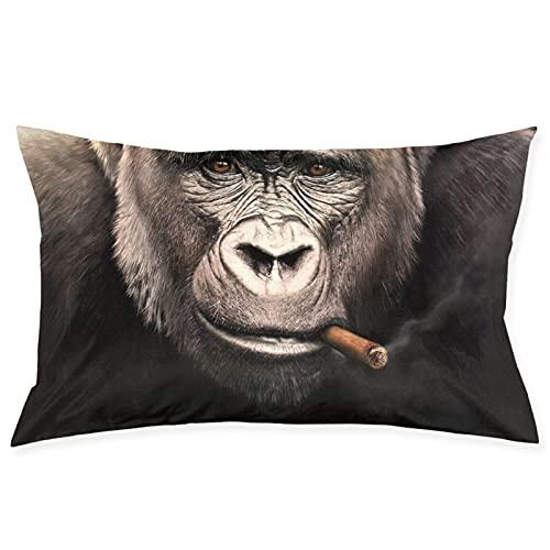 QUEMIN Monkey Cigar Baboons Funda de Almohada para Fumar Cigarrillos con Cremallera Funda de Almohada Rectangular Decorativa Fundas de cojín para sofá y Cama para el hogar 20 x 30 Pulgadas