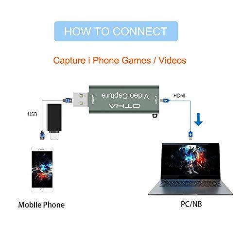 Video Capture Card 1080p 60fps für OBS,HDMI Videoaufnahmekarte USB 2.0 Audio Grabber,HD Video Record Audio Capture über DSLR, Camcorder, Action Cam,Mit USB zu Typ C Konverter Adapter