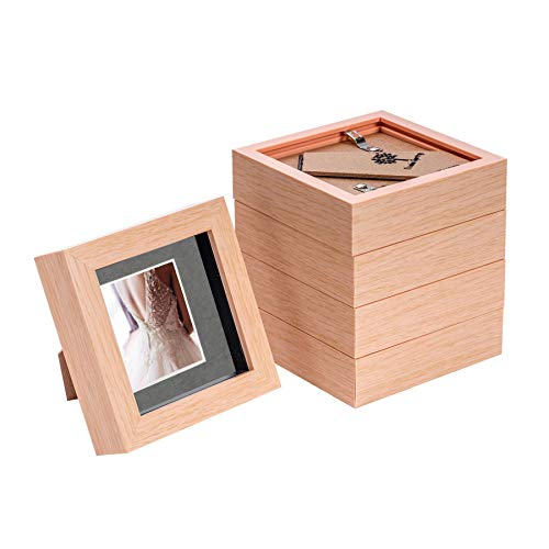 Nicola Spring 5 Stück 4 x 4 3D Shadow Box Photo Frame Set - Craft Anzeigen Bilderrahmen mit 2 x 2 Montieren - Glas Aperture - Hellen Holz/Grau