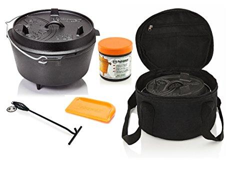 Petromax Feuertopf Starterset ft6 (Dutch Oven mit Standfüssen) inkl. Deckelheber + Tasche + Pflegepaste + Schaber
