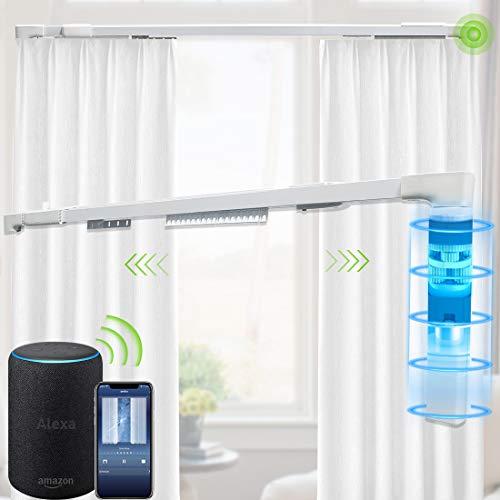Yoolax Elektrische Gardinenstange mit Motor, Smart WLAN Vorhangschiene durch Tuya App mit Alexa, Google Assistant kompatibel, Sprachsteuerung, Fernbedienung, Weiß, 2,2M~4M