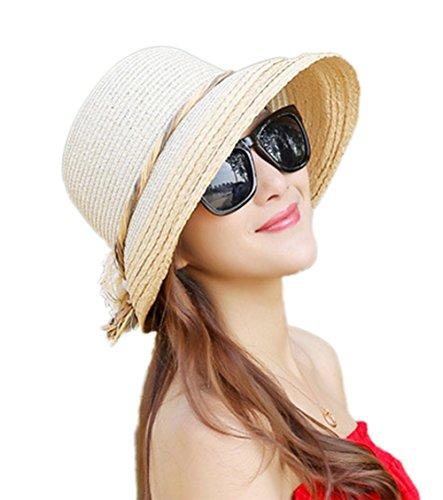 Toruiwa 1X Damen Strohhut Faltbarer Einstellbar Sonnenhut breiter Krempe Hut mit Zufällige Farbe Seil (Beige)