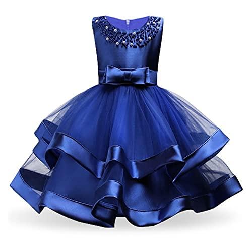 Hcxbb-1 Robe de Princesse Filles Robes Filles pour Mariage soirée soirée fête Broderie Fleur Girl Girl vêtements (Color : Blue, Kid Size : 7)