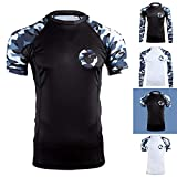 Gold BJJ Jiu Jitsu Rashguard - Camo Short Sleeve Rash Guard Compression Shirt for No-Gi, Gi, & MMA (Black Camo, M)