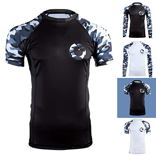 Gold BJJ Jiu Jitsu Rashguard - Camo Short Sleeve Rash Guard Compression Shirt for No-Gi, Gi, MMA (Black Camo, XL)