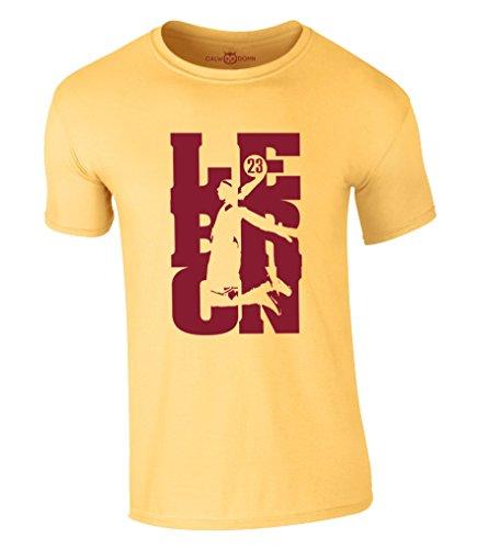 Lebron James T-Shirt 23 King LBJ Cleveland Cavaliers Cavs Jersey Trikot Basketball Shirt (L, Gelb)