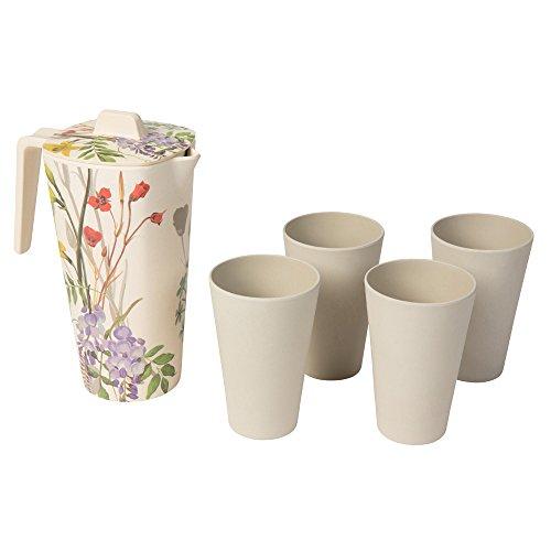BIOZOYG 5-teiliges Bambus Set I 1,2 Liter Karaffe mit Deckel und 4 Trinkbecher I Bamboo Kanne spülmaschinenfest, BPA frei und nachhaltig hergestellt I Wasser Krug Wasserkaraffe lebensmittelecht