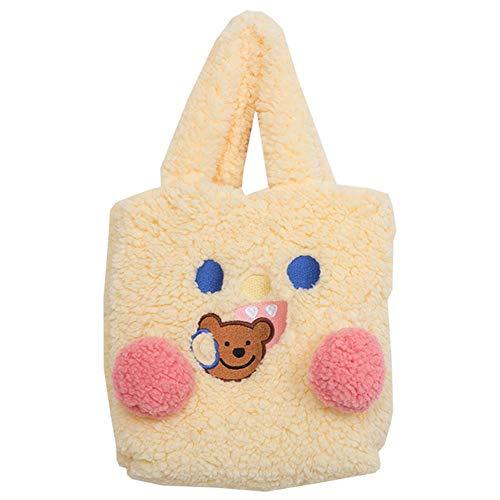 PQZATX Mode PlüSch Winter Warme Damen Handtasche Netter B?R Cartoon Umh?Ngetasche L?Ssige Einkaufstasche Gelb