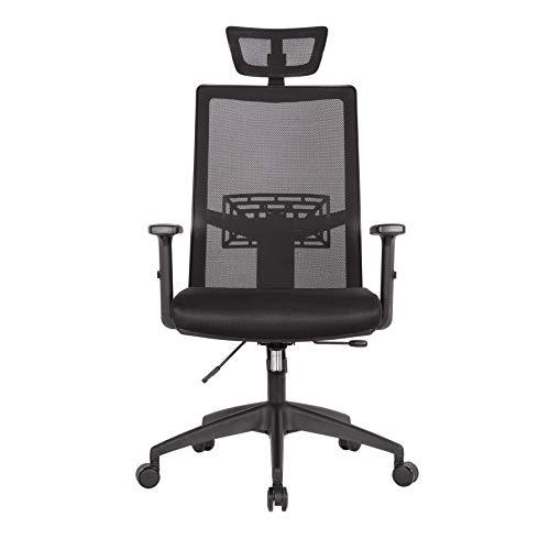 Hoge rug Executive Ergonomische bureaustoel met verstelbare hoofdsteun en Lumbar-ondersteuning, draaibare hoogte aanpassing en kantelfunctie voor soho/kantoorwerk, bureaustoel, gamestoel