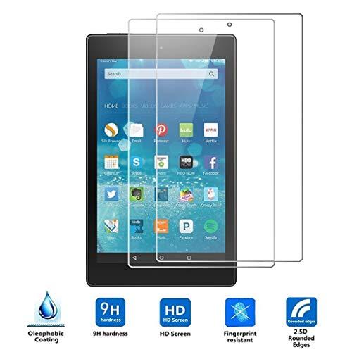 2er-Pack Bildschirmschutzfolie Kits für Kindle Fire 7 2019, Hukz HD 9H Folie Bildschirmschutz Tablet Tempered Glass Screen Protector, Anti-Kratz Blasenfrei Anti-Fingerabdruck Glasfolie