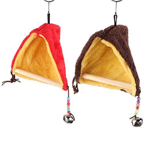 2 Stks Papegaai Swing House, Huisdier Vogel Winter Pluche Tent met Bell Driehoek Hangmat Nest met Stand Perch Grote Grootte Kooi voor Papegaai Parakeets Conures Macaws Cockatiels Liefde Vogels