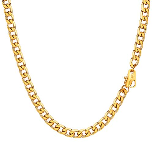 PROSTEEL Mens Gold Chains Necklace 5mm 24Inch Long Jewelry Neck Curb Link Chain