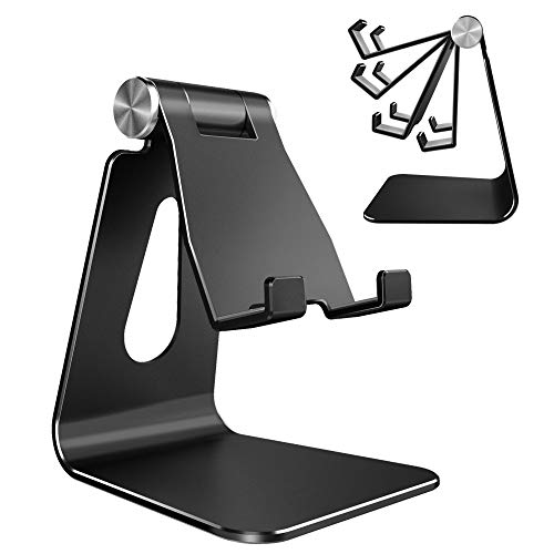 Adjustable Cell Phone Stand, CreaDream Phone Stand, Cradle, Dock, Holder, Aluminum Desktop Stand Compatible with Phone Xs Max Xr 8 7 6 6s Plus SE Charging, Accessories Desk,All Mobile Phones-Black