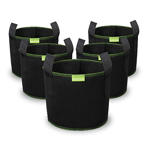 Plant Grow Bags, Mactoou 5 Pack 3 Gallon Non-Woven Aeration Fabric Pots with Strap Handles for Vegetable, Flowers, Tomatoes and Fruits, Black