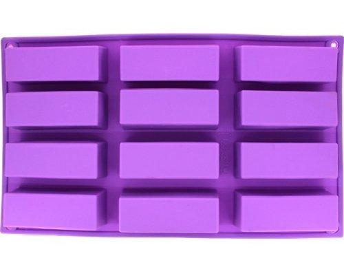 Allforhome Moule en silicone pour savons/gâteaux 12 cavités rectangulaires
