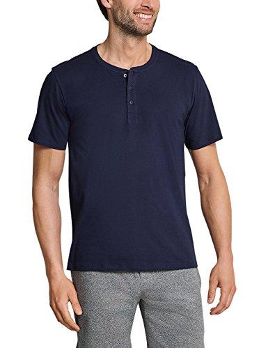 Schiesser Herren Mix & Relax T-Shirt Knopfleiste Schlafanzugoberteil, Blau (Dunkelblau 803), L