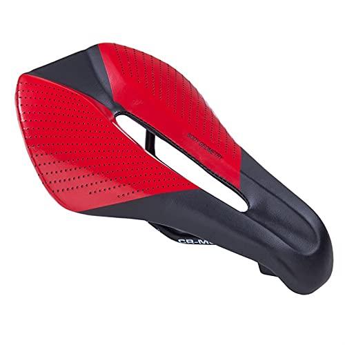 QXYOGO Sillin MTB Sillín de Bicicleta Hombres Triatlón Sillín Ancho MTB Bicicleta Sillín Hollow Cómodo Asiento de Silla de Montar Bicicleta SillíN (Color : Red)