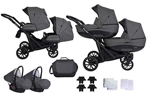 Booster Kinderwagen Zwillingswagen Geschwisterwagen by Lux4kids Dark Storm 3in1 mit Babyschale