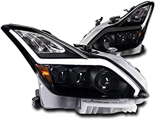 ZMAUTOPARTS Sequential Signal LED DRL Black Projector Headlights Lamps For 2008-2015 Infiniti G37 / Q60 2DR
