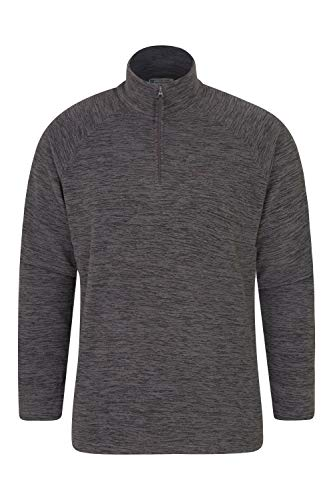 Mountain Warehouse Snowdon Mens Micro Fleece Top - Warm, Breathable, Quick Drying, Zip Collar Fleece Sweater, Soft & Smooth Pullover - for Travelling, Winter Walking Charcoal L
