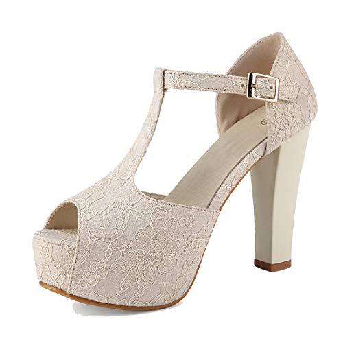 GATUXUS Sandália feminina sexy de renda com tira em T e salto alto, bico aberto Mary Jane plataforma sapatos de casamento, Marfim, 8