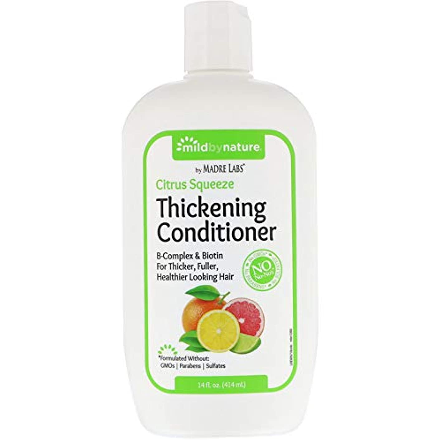 軍隊混沌軽減するMadre Labs, Thickening B-Complex + Biotin Conditioner, No Sulfates, Citrus Squeeze、14液量オンス(414 ml)