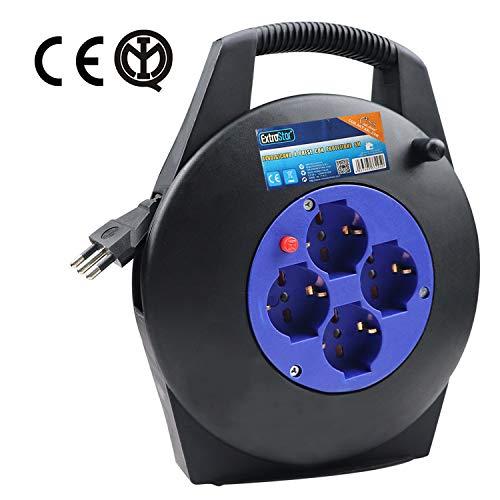 EXTRASTAR Prolunga Elettrica con Avvolgicavo 8 mt,4 Prese Polivalenti (Schuko + 10/16A),Spina 16A,Sezione Cavo 3G 1,0 mm²
