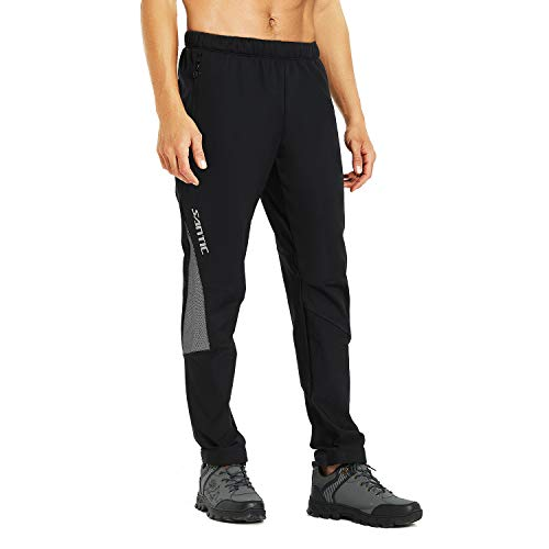 Santic Cycling Trousers Mens Baggy Cycling Pants Winter Thermal Mountain Bike Trousers Warmer with Fleece inside EU L