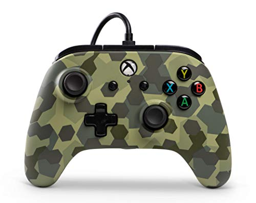 PowerA Manette Filaire sous Licence Officielle Microsoft Compatible avec Xbox One, Xbox One S, Xbox One X & Windows 10 - Deep Jungle Camo