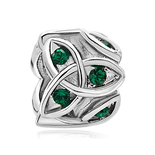 LilyJewelry Green Celtic Trinity Knot Charm Claddagh Irish Beads Fits European Bracelets