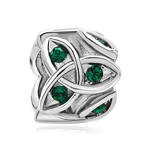 LilyJewelry Green Celtic Trinity Knot Charm Claddagh Irish Beads Fits European Bracelets