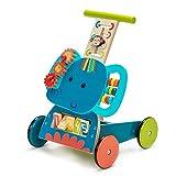 labebe - Baby Walker, 3-in-1 Use as Push Along Toy, Blue Elephant Mobility Walker for 1-3 Years, Wooden Walker Kid/Pull Along Wagon/Easy Walker Children/Wooden Wagon Kid/4 Wheel Walker Girl & Boy