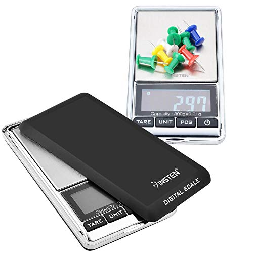 Insten Digital Scale for Jewelers, Coffee, Kitchen, Pocket Sized with Leather Bag, Refined Accuracy up to 0.01g [0g to 300g], Stainless Steel Scale LCD Display, Unit g/oz/ozt/dwt/ct, Silver