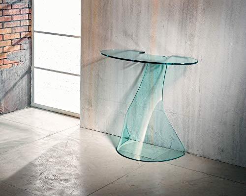 IMAGO FACTORY Ninfea   Consola de salón – Puente de cristal curvado, mueble de salón moderno, consola salón de cristal, mueble de entrada, mueble de entrada, diseño moderno