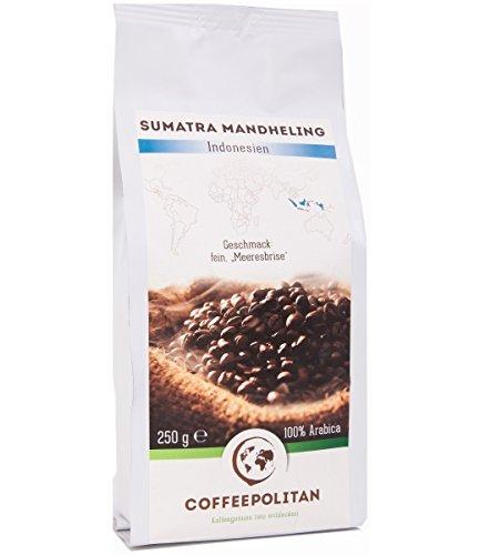 Coffeepolitan Sumatra Mandheling - Röstkaffee aus Indonesien - ganze Bohne 250g 1 Packung