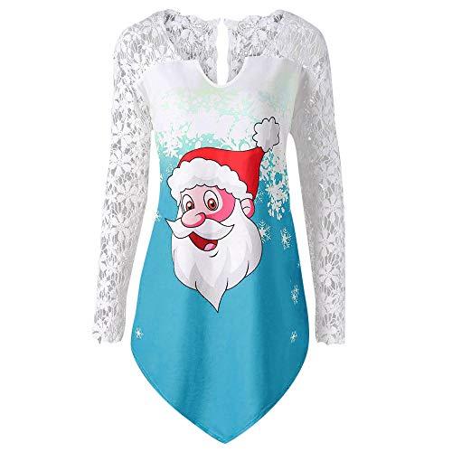 Dorical Weihnachts Sweatshirt Damen Winter Wein Lila Blau Pink Spitze V-Neck Sweet Pullover Weihnachtsmotiv Hochwertige Schicke Schöne Günstige kaufen Online Shop Sale