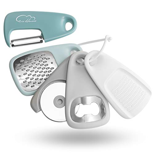 Kitchen Gadgets Set 5 Pieces, Space Saving Cooking Tools Cheese Grater, Bottle Opener, Fruit/Vegetable Peeler, Pizza Cutter, Garlic/Ginger Grinder, Stainless Steel Accessories Dishwasher Safe(Blue)
