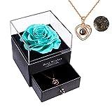 Recibirás una rosa auténtica hecha a mano con amor hecha a mano para el día de San Valentín, aniversario, cumpleaños, regalos románticos para ella (azul Tiffany).