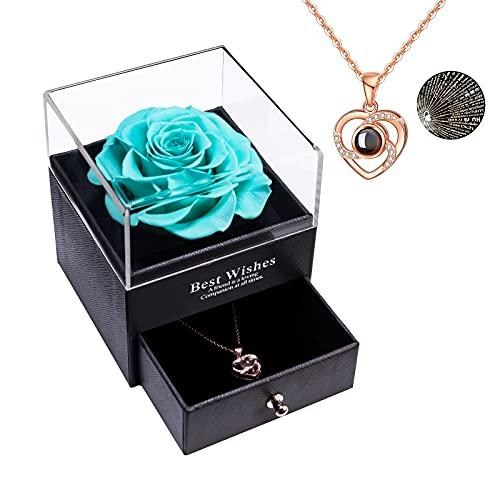 Erhaltene echte Rose Ewige handgemachte erhaltene Rose mit Liebe Sie Halskette, verzauberte echte Rose Blume zum Valentinstag Jubiläum Jäten Geburtstag romantische Geschenke für Sie (Tiffany-Blau)