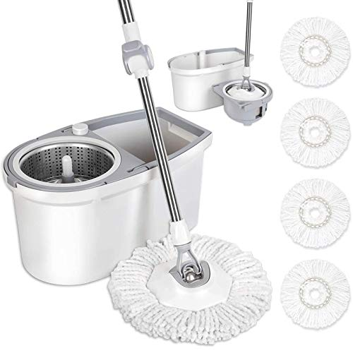 BOOMJOY Spin Mop and Bucket with Wringer Set