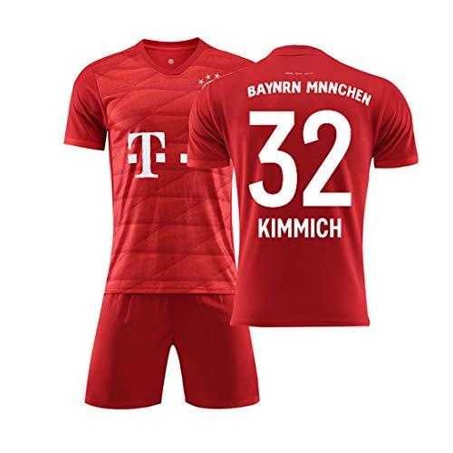 Fußball Trikot Kits Munchen Robben 10 KIMMICH 32 Unisex erwachsenes Kind Junge, Trikot T-Shirt und Shorts Team Training Uniform T-Shirt + kurzer Trainingsanzug-red32-XL