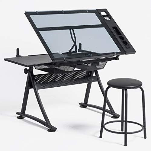 Lgan Zeichentisch Höhenverstellbar, Mit Lagerung Schreibtisch, Glasscheibe Zeichenbrett, Kinder Maltisch