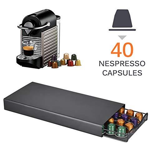 CCHM 40 Pods Kaffee-Kapsel-Organisator-Speicher Ständer Praktische Kaffee Schubladen Kapseln Halter Kaffeekapsel Regale,Schwarz