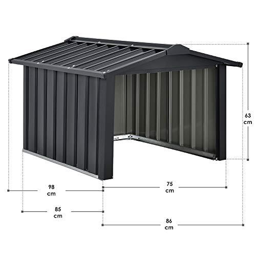Juskys Metall Mähroboter Garage mit Satteldach - 2
