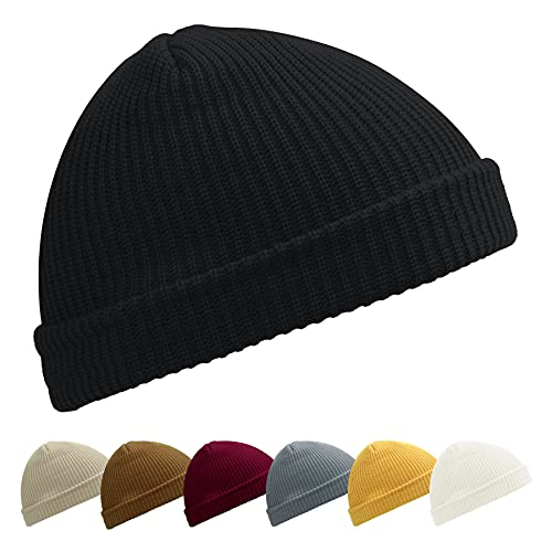 NEOLA Trawler Beanie Hut Baseballkappe Mütze Fisherman Knit Hats for Geschenke Unisex (Schwarz)