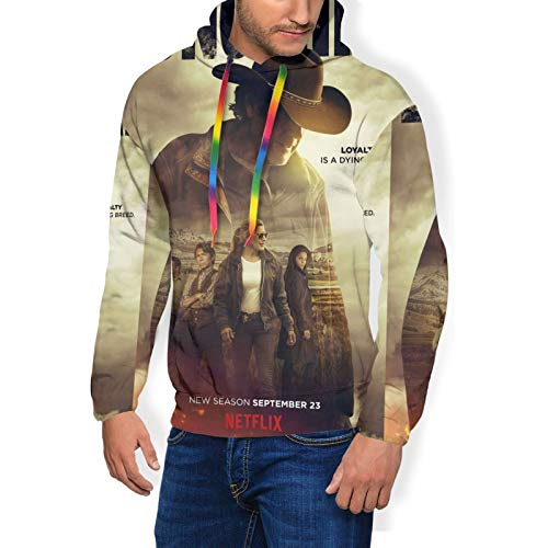 Huatansy Men Sport Hoodie Sweater Longmire- Novelty Hooded Long Sleeve With Brushed Black