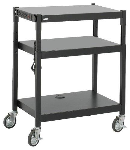 Safco Products Steel Adjustable Height AV Cart, Black